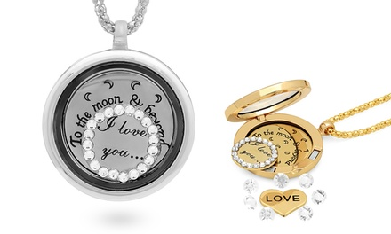 Stainless Steel and Crystal Made with Swarovski Elements Locket Pendants