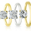 Sterling Silver or 14K Gold-Plated Cubic Zirconia Solitaire Rings