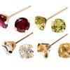 6mm Round-Cut Gemstone Stud Earrings