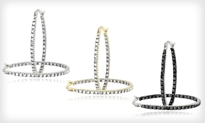 Diamond-Accented Hoop Earrings: One Pair of Diamond-Accented Hoop Earrings (Up to 76% Off). Three Styles Available. Free Shipping and Free Returns.