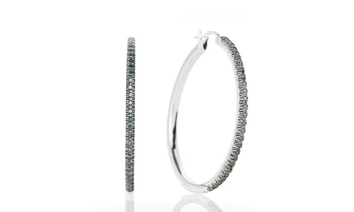 1/4 CTTW Black Diamond Hoop Earrings: 1/4 CTTW Black Diamond Hoop Earrings