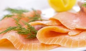Poissonnerie Romain Rolland: Saumon fumé, soupe de poisson, rouille, brandade et crevettes sauvages à 49,99 € à la Poissonnerie Romain Rolland