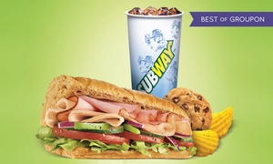 "Subway: Party Platter or 3 Groupons, Each Good for One 6"" Combo Meal at Subway (Up to 39% Off). 28 Locations Available."