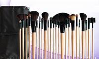 Set de 24 pinceles de maquillaje profesional con estuche roll-up