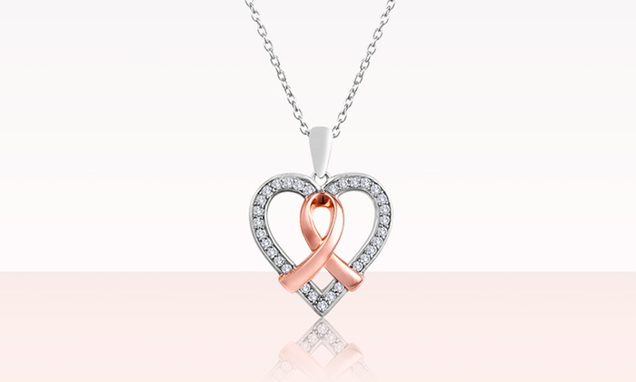 Breast Cancer Awareness 1/4 CTW Diamond Heart Pendant: Breast Cancer Awareness 1/4 CTW Diamond Heart Pendant with Pink Gold-Over-Silver Ribbon. Free Shipping and Returns.