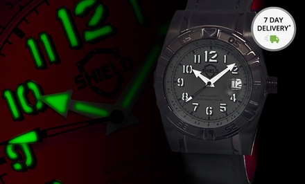Shield Men's Jarrod and Nuno Stainless Steel and Suede Leather Watches. Free Returns.