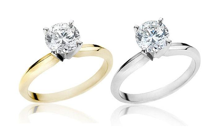 2-Carat Certified Round Diamond Ring in 14K Gold: 2-Carat Certified Round Diamond Ring in 14K Gold