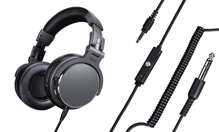 BKHC Studio Pro DJ Style Noise Reducing Over-the-Ear Headphones with Tangle-Free Audio Cable and Mic