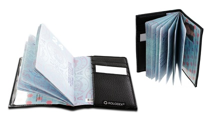 Two Rolodex Low-Profile Faux-Leather Passport ID Card Holders