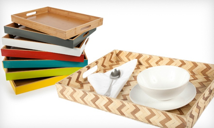 Core Bamboo Serving Trays: Core Bamboo Woven Zigzag or Large Classic Bamboo Serving Trays (60% Off)