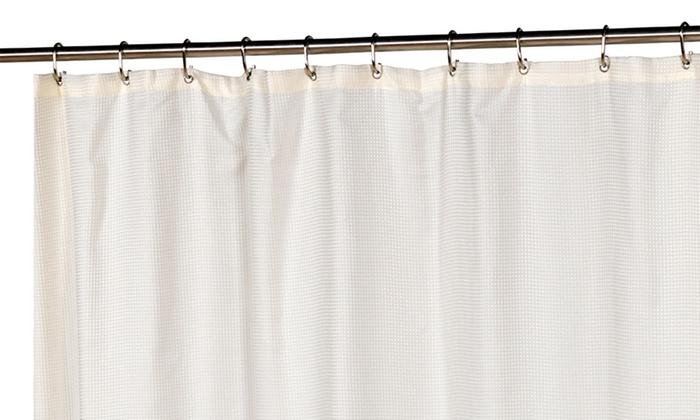 Waffle Weave Shower Curtain Set