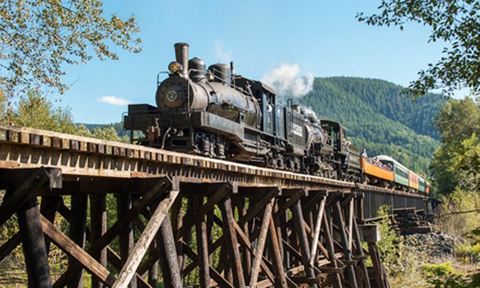 Mt. Rainier Scenic Railroad - Elbe: Regular Steam-Engine Excursion for One, Two, or Four from Mt. Rainier Scenic Railroad (Up to Half Off)