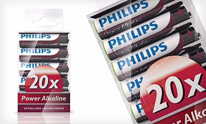 Philips PowerLine Alkaline Batteries: One 20-Pack of Philips PowerLine AA or AAA Batteries or One 20-Pack of Each (Up to 67% Off). Free Returns.