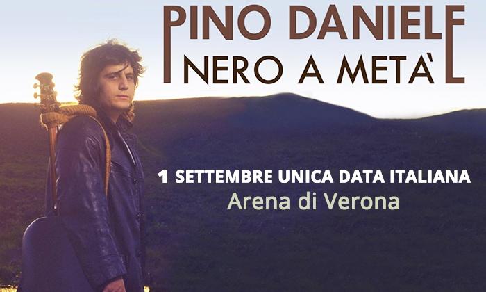 F&P GROUP - VERONA: Pino Daniele in Nero a Metà - L'artista sul palco dell'Arena di Verona con Elisa, Fiorella Mannoia e altri artisti