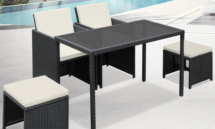 5 pc rattan garden furniture set groupon. Black Bedroom Furniture Sets. Home Design Ideas