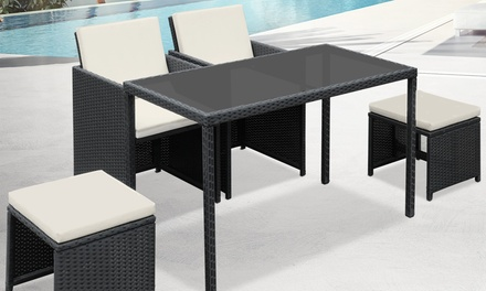 5 pc rattan garden furniture set groupon for Garden furniture set deals