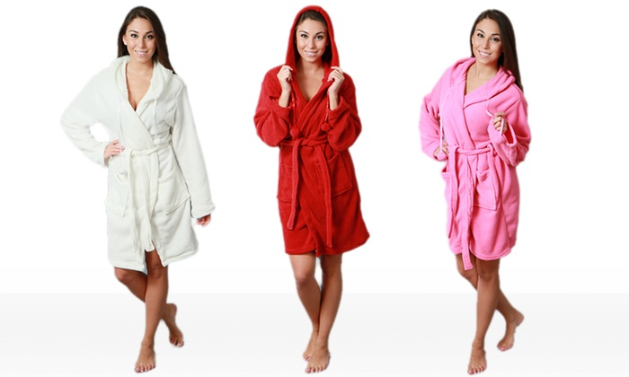 Women's Hooded Robes: Women's Hooded Robe in Pink, Red, or White. Free Shipping and Returns.