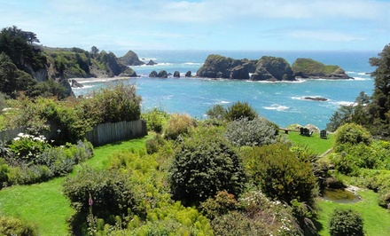 groupon daily deal - 1- or 2-Night Stay for Two with Truffles and Flowers at Sandpiper House Inn on Mendocino Coast, CA