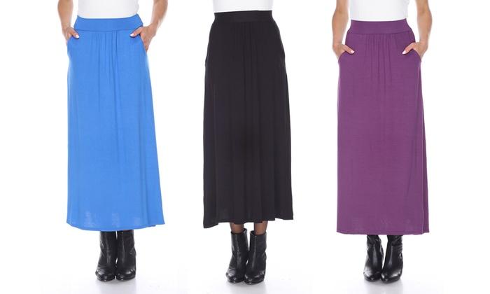 White Mark Women's Stretchy Pleated Midi Skirt
