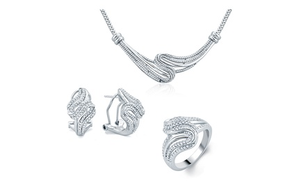 groupon daily deal - 1/2 CTTW Diamond Ring, Necklace, and Earrings Set