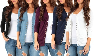 2-pack Women's 3/4 Sleeve Snap Button Cardigan. Plus Size Available.