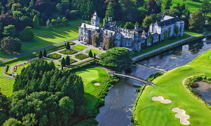 Ireland 5-Star Luxury Villa Vacation with Airfare - Adare Manor Hotel & Golf Resort: 8-Day Ireland Vacation with Airfare & Rental Car from Great Value Vacations. Price/Person Based on Quadruple Occupancy.