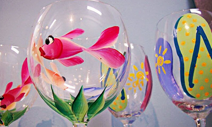 Art Plus Studio - Downtown: BYOB Wednesday-Night Wine-Glass Painting Class for One or Two at Art Plus Studio (Up to 57% Off)