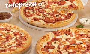 Telepizza: Pizza mediana o familiar masa fina especialidad o al gusto con 5 ingredientes desde 4,95 € en Telepizza
