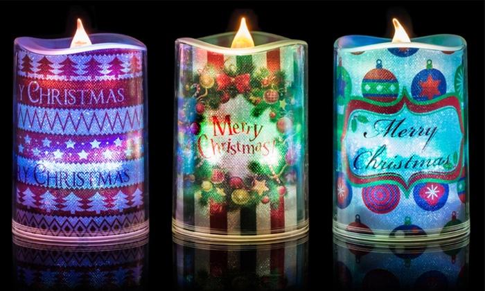 3 led christmas themed candles - Led Christmas Candles