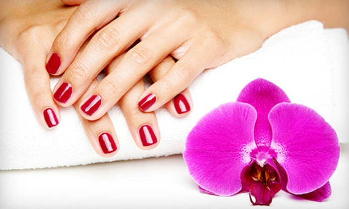 N2 Nails Salon and Spa - Violet: One or Three Gel Manicures or One Basic Mani-Pedi at N2 Nails Salon and Spa (Up to 66% Off)