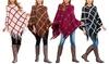 Riah Fashion Women's Gridlines Fringe Poncho