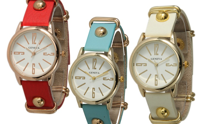 Geneva Women's Faux-Leather Stud Watches: Geneva Women's Faux-Leather Stud Watches. Multiple Styles Available. Free Returns.
