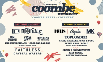 Coombe Weekender 2019 ft. The Libertines, Tom Grennan & Circa Waves, 3–4 August at Coombe Abbey Park