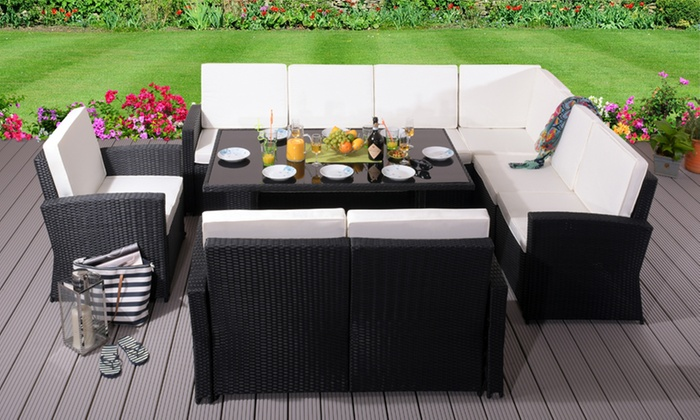 Myoko Nine-Seater Rattan-Effect Garden Dining Set in Choice of Colour with Optional Cover (£839.99)