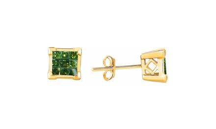1.00 CTTW Princess-Cut Green Diamond Earrings in 14K Gold