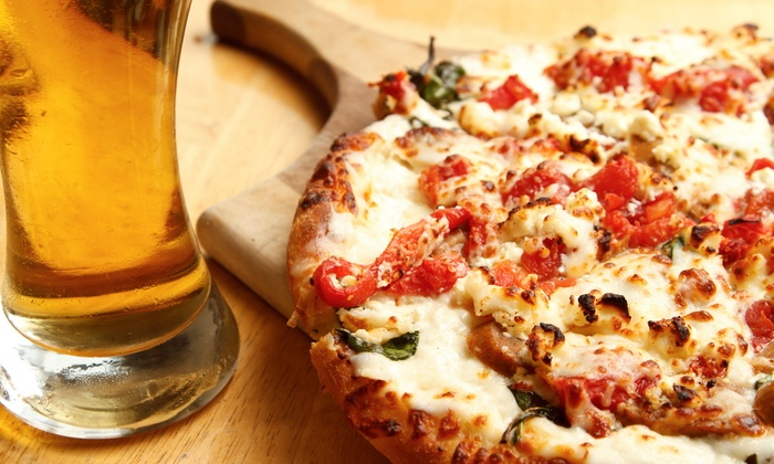 "X's and O's Lounge and Grill - Bridgeview: $15 for 16"" Two-Topping Pizza with Two Pitchers of Beer at X's and O's Lounge and Grill ($26 Value)"