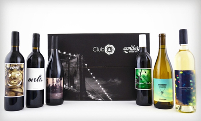 Club W: $45 for Six Bottles of Curated Classic American Wines, Featuring Two Whites and Four Reds at Club W ($96 Value)
