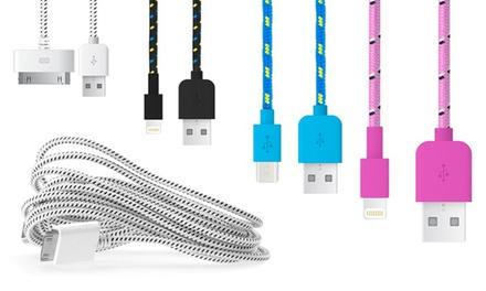 Hasta 4 cables de carga trenzados para Smartphones Android o iPhone