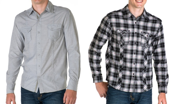 Venture Clothing Men's Long-Sleeve Shirt: Venture Clothing Men's Long-Sleeve Woven Shirt. Multiple Styles Available. Free Returns.