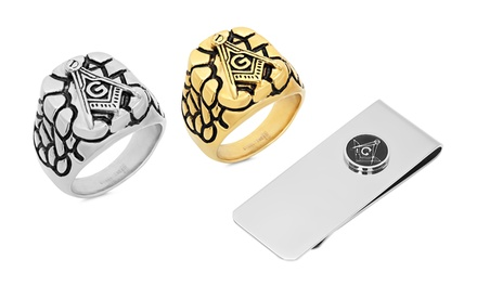 Men's Stainless Steel Masonic Ring or Money Clip from $19.99–$21.99