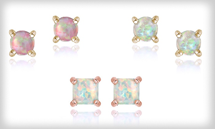 Created Opal and Gold-Plated Earrings: $8.99 for Created Opal Stud Earrings (Up to $55 List Price).14 Options Available. Free Returns.