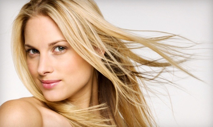 Evolve Salon - Walker: Haircut and Highlights or Lowlights with Optional Eyebrow Wax at Evolve Salon (Half Off)