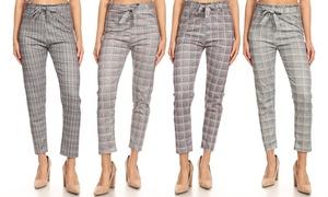 2e80fcb6e73eb8 C-Mode Women's Check Print Paperbag Leggings
