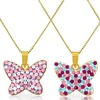 Kids' Butterfly Pendant with Crystals in 14K Yellow Gold