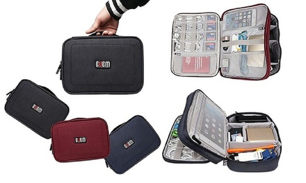 One or Two Double Layered Travel Gadget Organiser Bags from AED 89