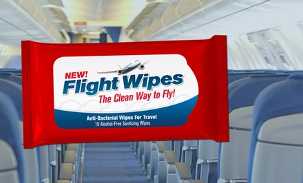4-Pack of Flight Wipes Travel Anti-Bacterial Wipes