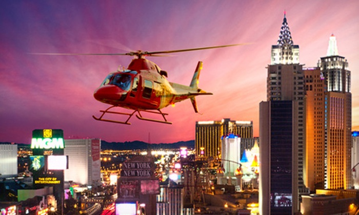 Heli USA Airways - Las Vegas: Helicopter Night Tour Over Las Vegas Strip for Two or Four with Champagne from Heli USA Airways (Up to 52% Off)