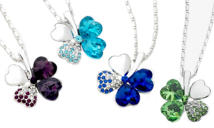 Four-Heart Necklace with Swarovski Elements: Four-Heart Necklace with Swarovski Elements. Multiple Colors Available. Free Returns.