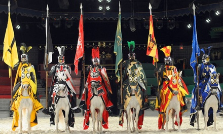 $21 Off Medieval Times Coupon, Discounts $21 off Get Deal Medieval Times is a dining chain loaded with 11th century entertainment that features medieval-style games. Customers can receive a free admission for a future show with each full paid admission and they highly rate the food and show.