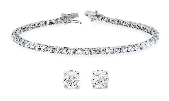 Stud Earrings And Tennis Bracelet Set With Swarovski Elements Crystals